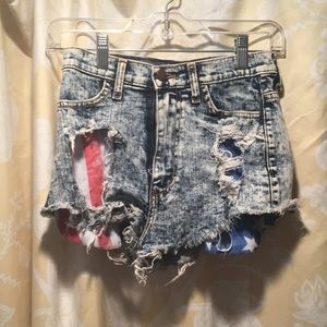 American flag jean shorts